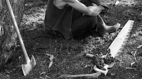 woodsman and tools