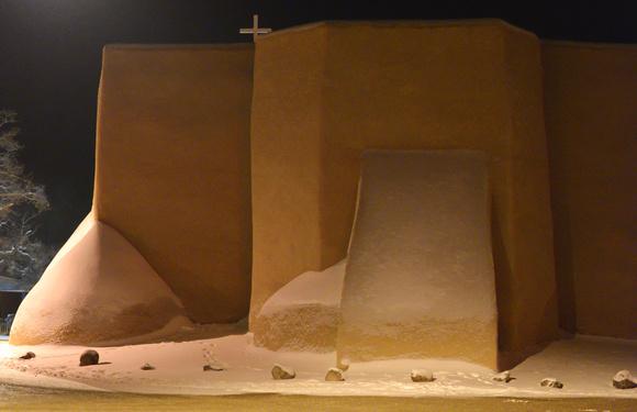 Ranchos church on a snowy night