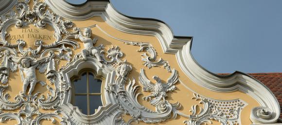 Haus Zum Falken, Würzburg, Germany, rococo detail