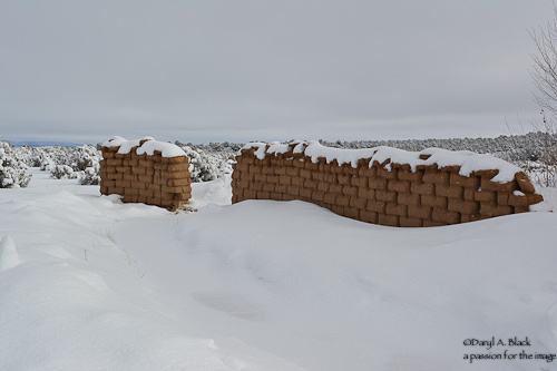 adobe wall and pinon in snow west side