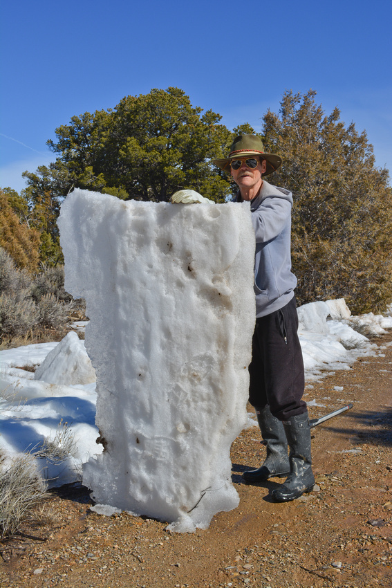 ice work set 2 Fred posing with slab