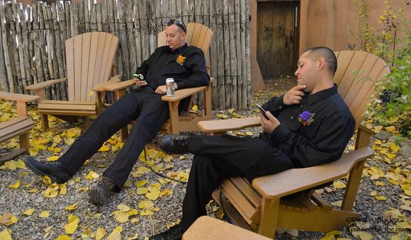 groomsmen resting