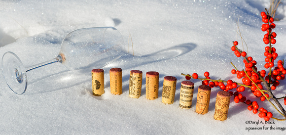 wine cork in snow set up 3