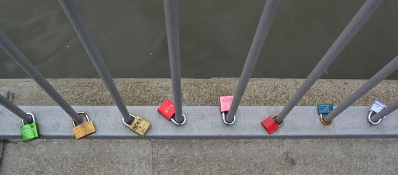 Love locks on Alte Mainbrücke, Würzburg, Germany