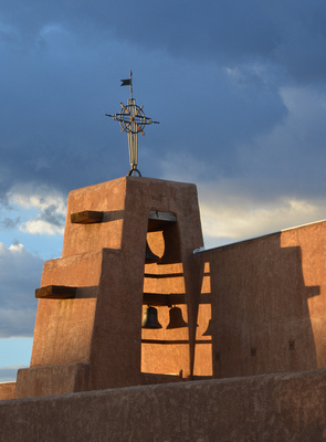 Bell tower and shadows, Our Lady of Guadalupe Church, Taos, New Mexico