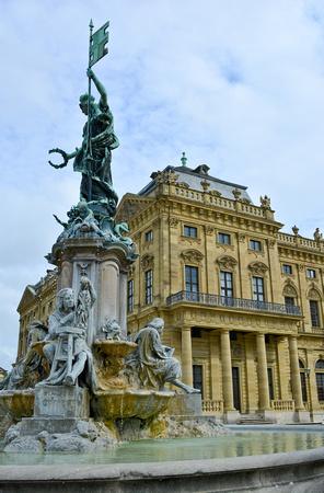 fountain and Würzburg Residence, Würzburg, Germany