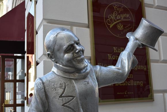 Smiling Man, Cafe Mayer, Bratislava, Slovakia